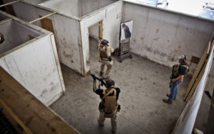 Military Training inside shooting house